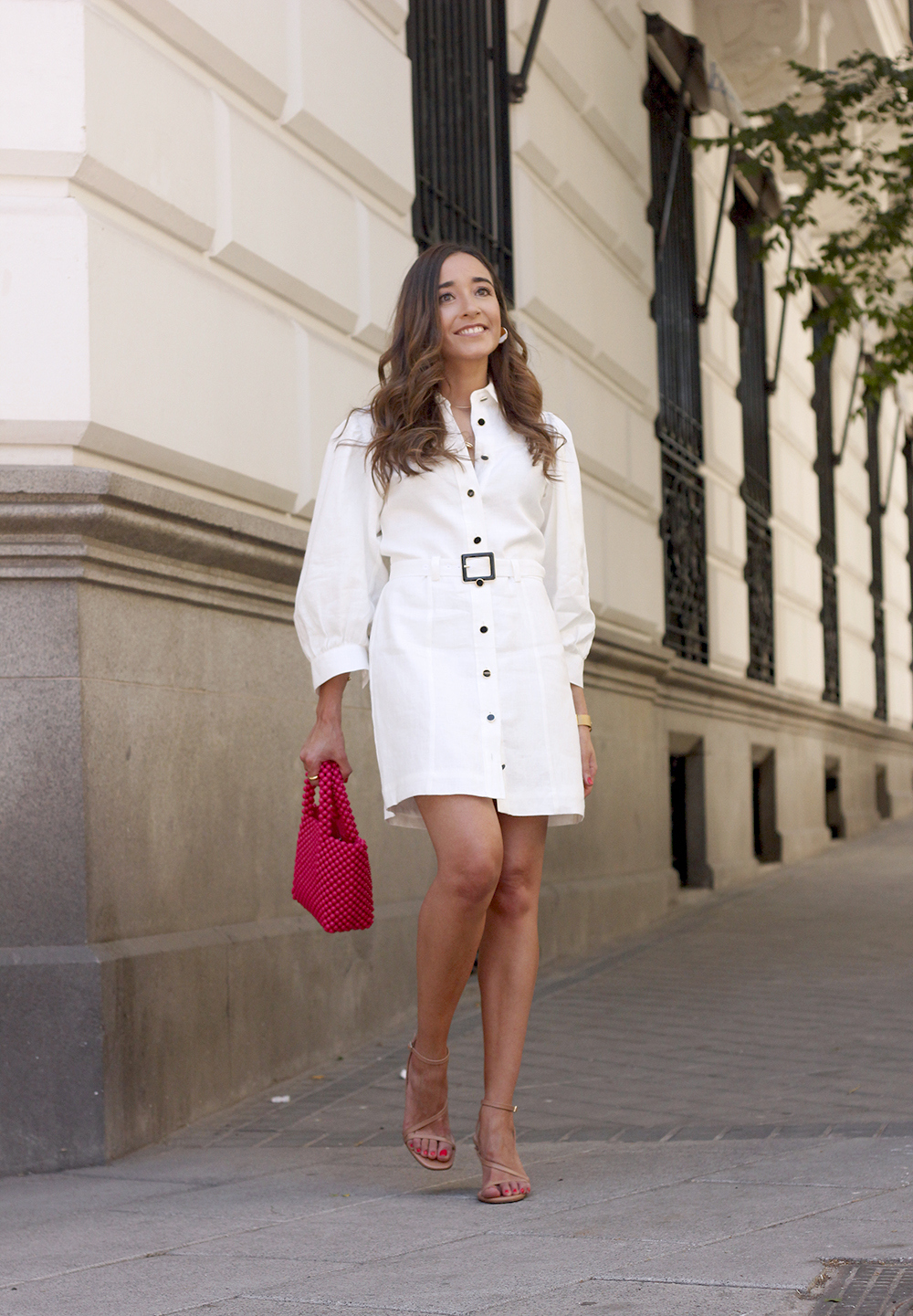 white linen dress pink bag nude sandals folli follie jewellery street style outfit 20195