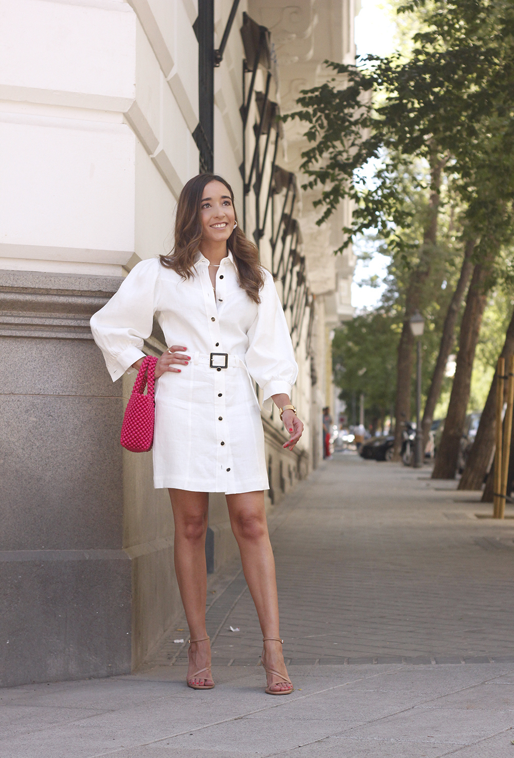 white linen dress pink bag nude sandals folli follie jewellery street style outfit 20192