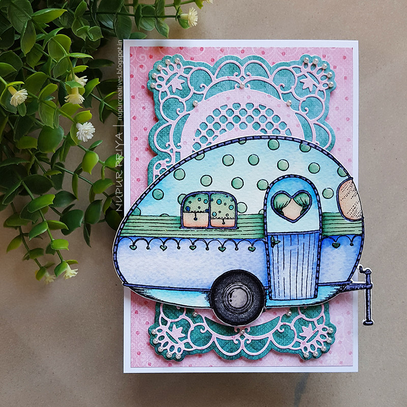 Pink And Blue Happy Camper Card_ Nupur Creatives_1