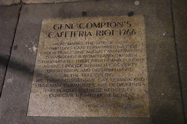 Gene Compton's Cafeteria riot 1966 marker in the Tenderloin