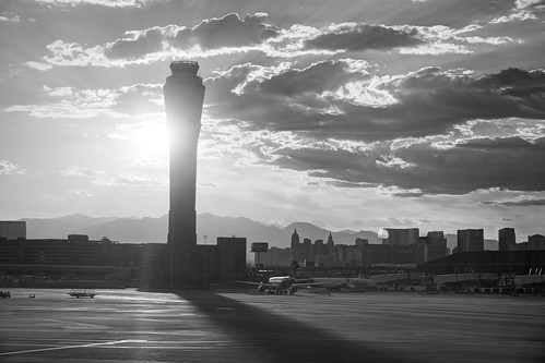 lasvegas nevada usa airport mccarraninternationalairport outdoor tarmac stairs tower airporttower sun sunset clouds cloudy monochrome blackandwhite sony a6000 selp1650 3xp raw photomatix hdr qualityhdr qualityhdrphotography fav100