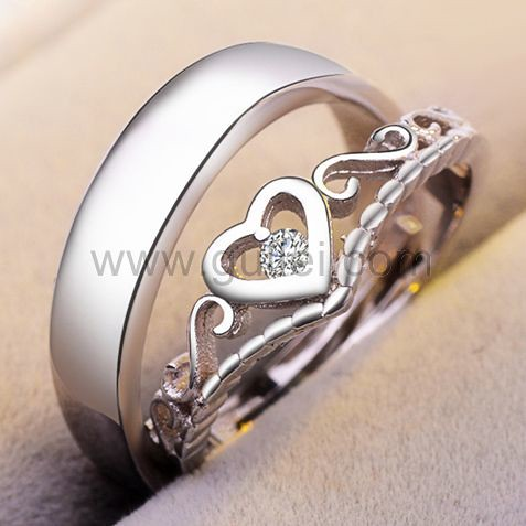 gullei.com Expandable Matching Heart Unisex Engagement Rings Set