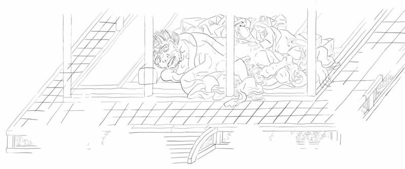 香取本『大江山絵詞』(おおえやまえことば)の絵図(現状の絵巻の原本の「下巻 第七絵図」)のイメージ画像(絵図全体のなかの一部分の抜粋)