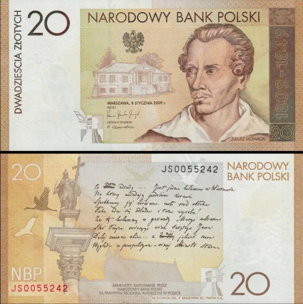 20 Zlotych Poľsko 2009, Juliusz Slowacki P180