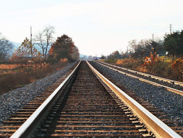 Norfolk Southern main line eastbound view at a location some miles west of Old Fort, North Carolina, 11-06-2006