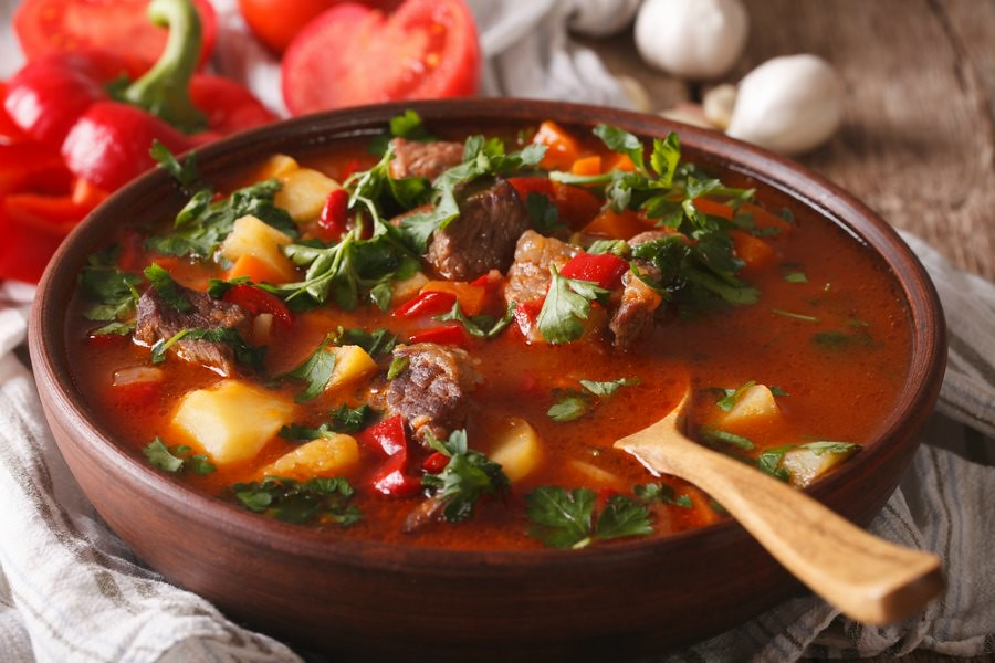 Traditional Romanian Food: Goulash Soup
