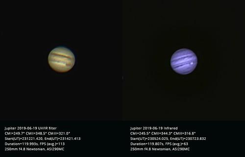 Low-altitude Jupiter colour-IR comparison