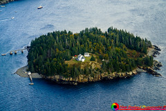 Looking down on Bear Island Light in Acadia National Park Maine.