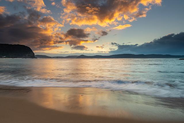 High Tide Swells Up Sunrise Seascape