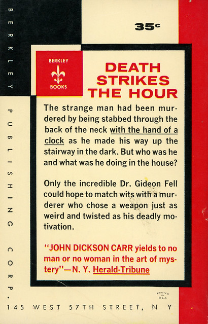 Berkley Books G-101 - John Dickson Carr - Death Watch (back)