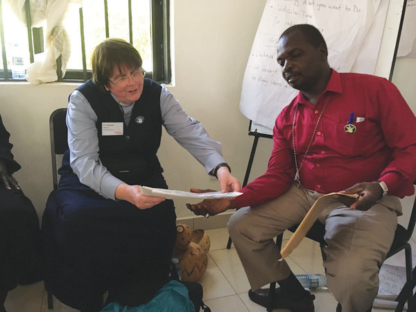 The Rev Amanda Adams at work at the Peace and Reconciliation Conference in Arua, Uganda, last October.