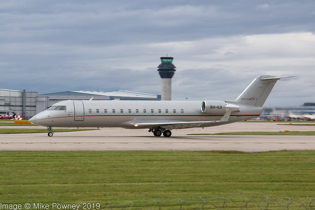 9H-ILV - 2010 build Bombardier Challenger CRJ850, rolling for departure on Runway 23L at Manchester