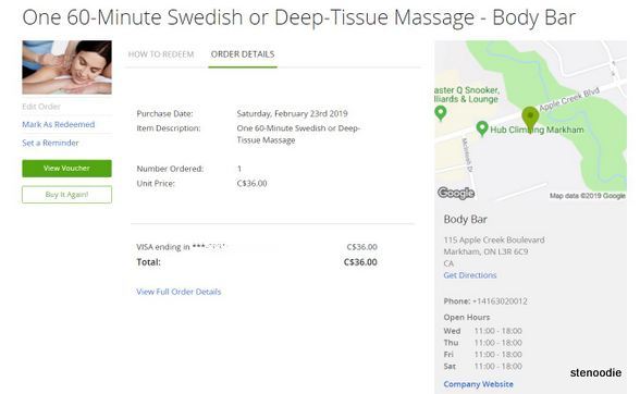 Body Bar massage Groupon