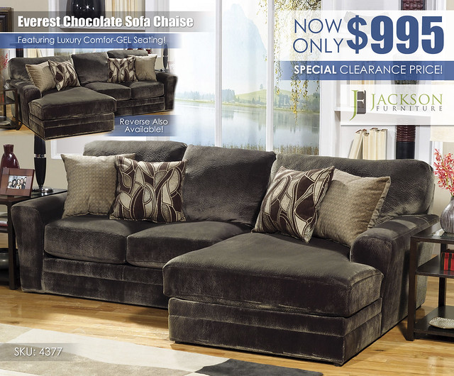 Everest Chocolate Sofa Chaise Special_4377_Jackson Furniture