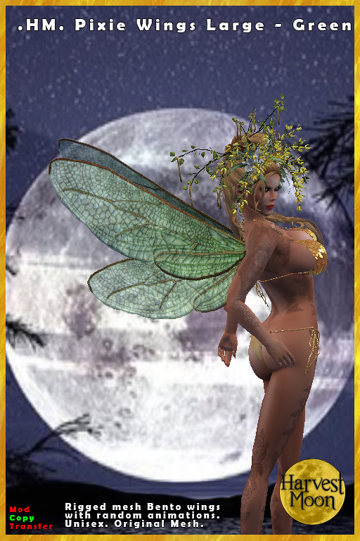 Harvest Moon – Large Pixie Wings – Green – Midsummer's Night Dream 10 Hunt