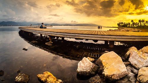 sunset landscape nature sky water seaside olympus m43 mft samyang75mm outside olympusturkiye olympusyollarda sun clouds beach izmit sekapark light blue fisheye orange