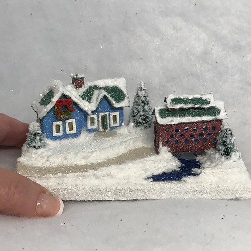 TINY MINI Blue House and Red Covered Bridge Putz