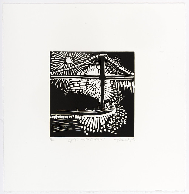 Black and white linocut print of July 4th fireworks exploding over Brooklyn Bridge.
