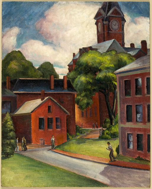 Color oil painting of the 1930s API campus in springtime near Samford Hall
