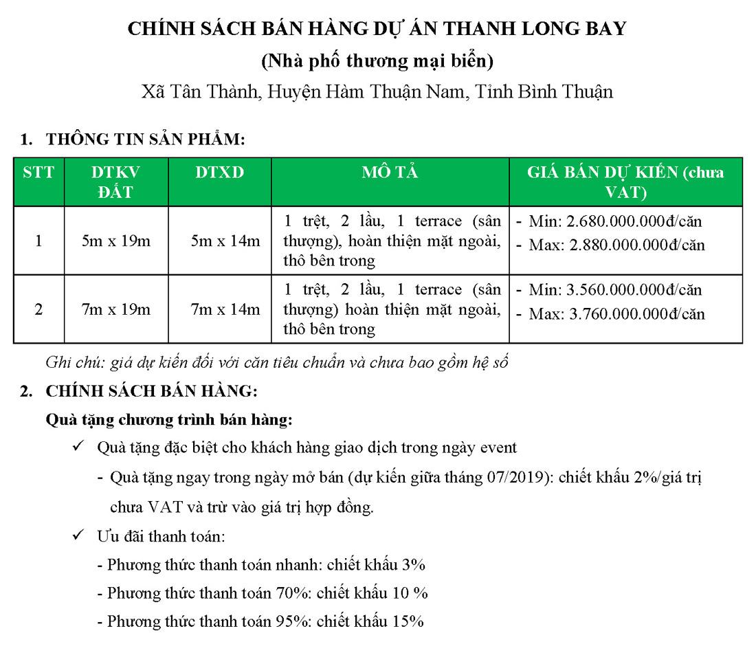 Chính sách bán hàng của sản phẩm nhà phố, shophouse Thanh Long Bay.