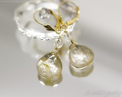 14K Solid gold jewelry Golden Rutilated Quartz earrings wire wrapped in 14K gold. Handmade Luxury collection by Arctida.