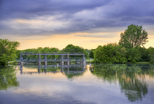 guelph ontario canada gow bridge sunset sky cloudy mood color aurora hdr fujifilm xt3 35mm f2 fujinon fujicron summer water reflections mirror