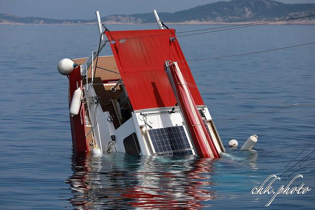 Motor sailing yacht sinking
