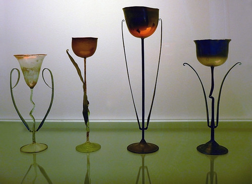 Delicate hand-blown wine glasses in the Design Museum in Copenhagen, Denmark