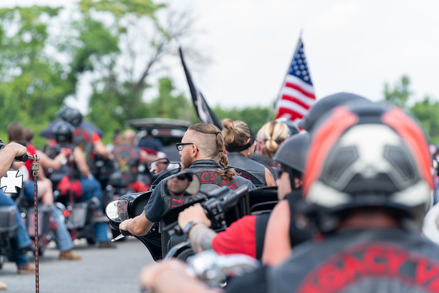 Arlington VA, May 26, 2019: Rolling Thunder Motorcycle rally crosses drives down Washington Blvd in Arlington Virginia. The rally is to bring attention to POWs and MIAs of US-involved wars.