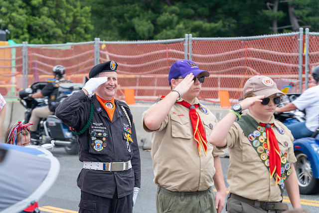 Arlington VA, May 26, 2019: Rolling Thunder Motorcycle rally crosses Memorial Bridge entering Washington DC from Arlington Virginia. The rally is to bring attention to POWs and MIAs of US-involved wars.
