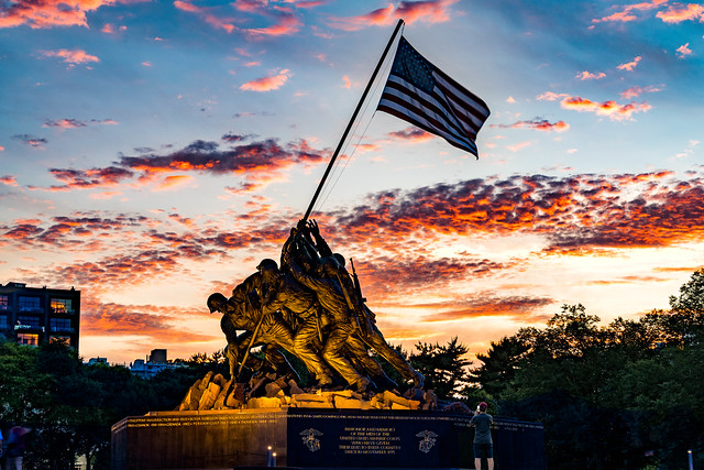 Arlington's Marine Core Memorial aka Iwo Jima Memorial is always stunning but when you hit it during an explosive sunset it is all the sweeter. A bit of time blending shenanigans was done in this image, the memorial was illuminated about 10 minutes after
