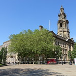 Blue sky over the Town Hall at Preston
