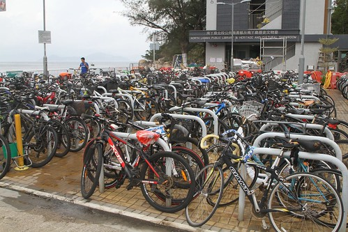 Bikes parked everywhere at the Yung Shue Wan ferry pier
