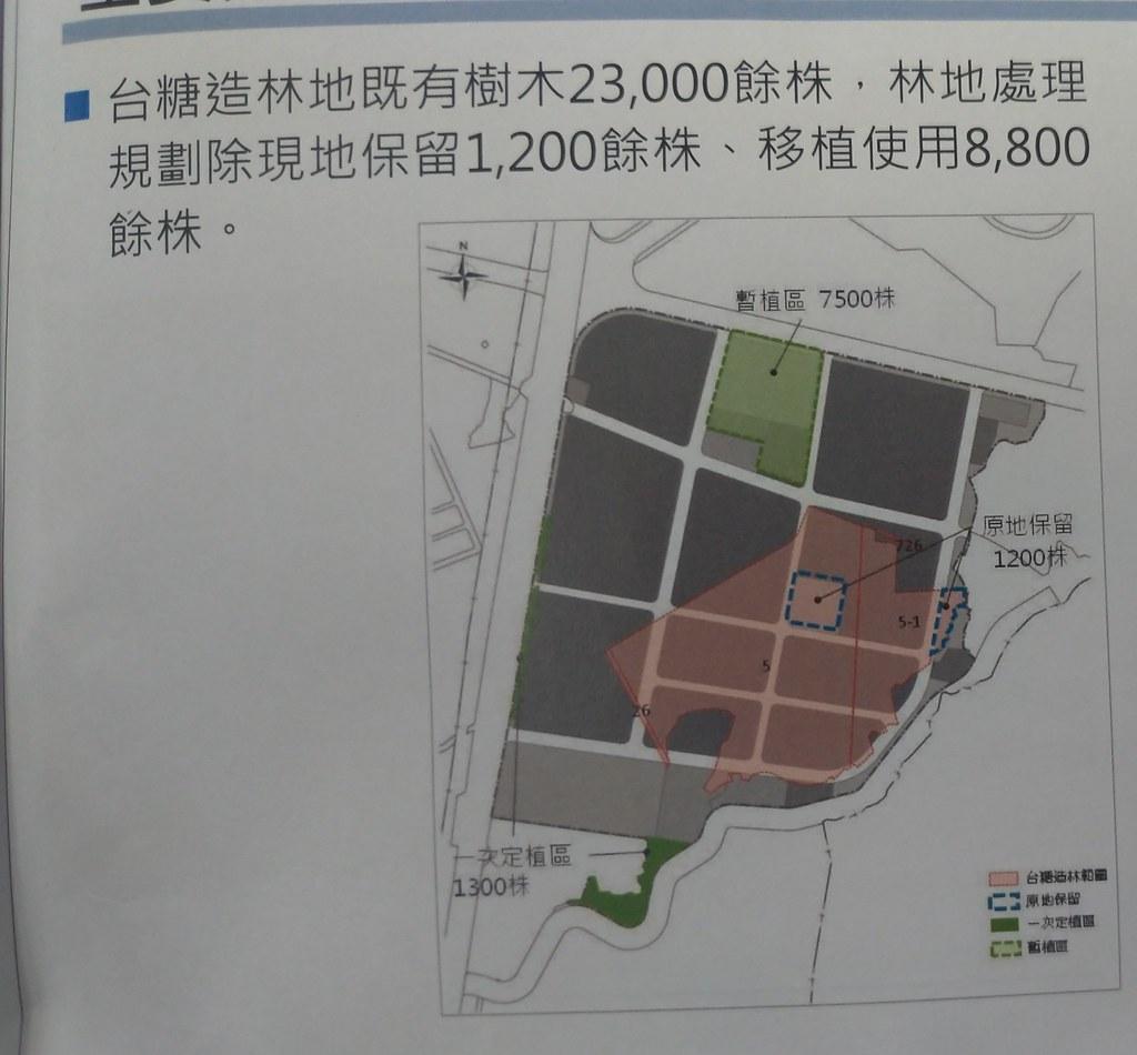 高雄市經發局表示將會移除兩萬餘顆樹,保留1200株,移植8800株。翻攝環評書件