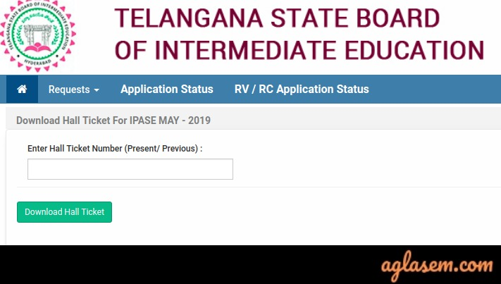 TS Inter Supplementary Hall Ticket 2019