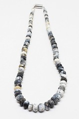 Natural Amazing White Black & Shaded Dendrite Opal Beaded Necklace