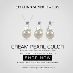 Cream Pearl Color Pendant and Earrings Jewelry Set with Crystals from Swarovski®