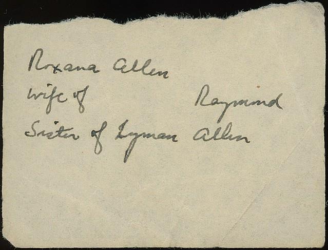 Roxana Allen (1818 - 1906) - reverse