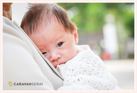 2か月の赤ちゃん ベビードレスはおばあちゃまの手編み