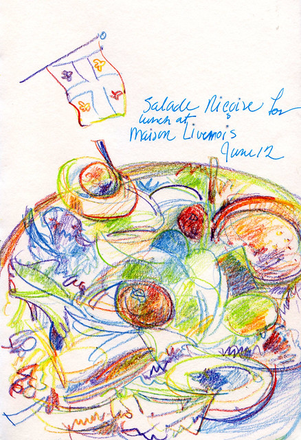 Quebec City, salade Niçoise for lunch, drawn with Magic Pencil