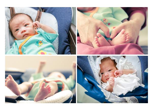 2か月の赤ちゃん 手と足のアップ