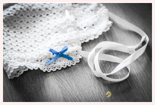 お宮参り ベビードレス用の帽子 手編み