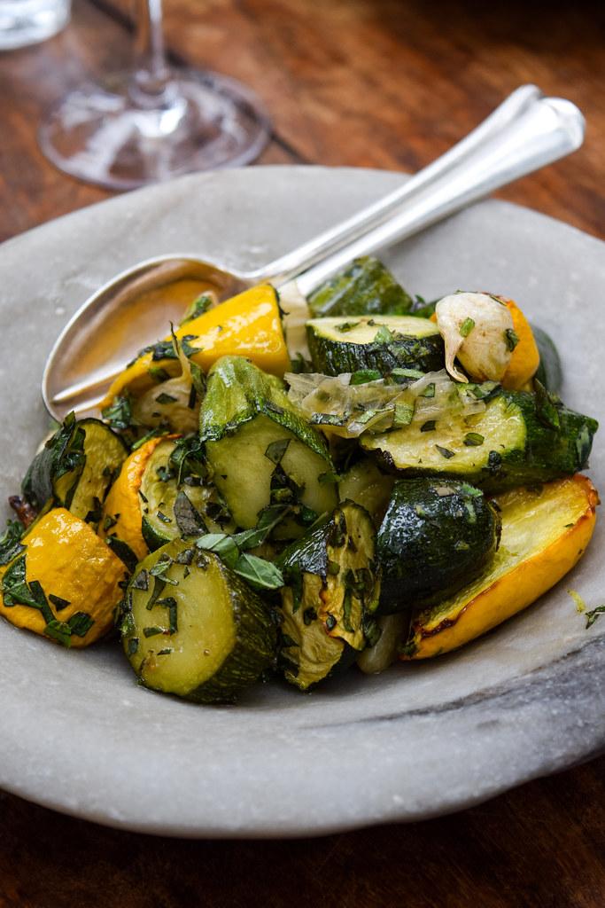 Warm Courgette Salad at Petersham Nurseries, Richmond