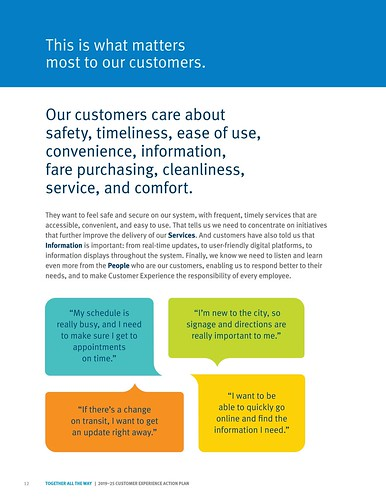 """This is what matters most to our customers,"" Page 12, TransLink 2019-2025 Customer Experience Action Plan"