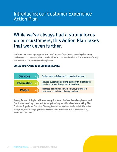 """Introducing our Customer Experience Action Plan,"" Page 14, TransLink 2019-2025 Customer Experience Action Plan"