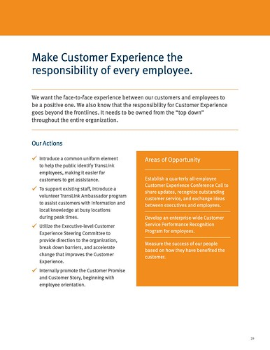 """Make Customer Experience the responsibility of every employee,"" Page 29, TransLink 2019-2025 Customer Experience Action Plan"