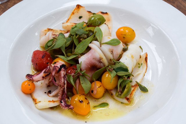Charred Squid with Tomatoes at Petersham Nurseries, Richmond