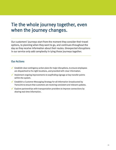 """Tie the whole journey together, even when the journey changes,"" Page 25, TransLink 2019-2025 Customer Experience Action Plan"