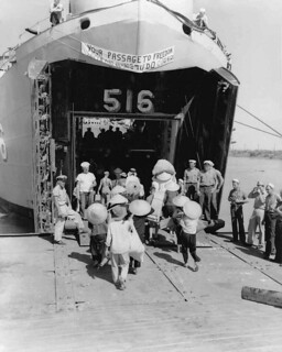 Operation Passage to Freedom refugees board ship to South Vietnam, October 1954