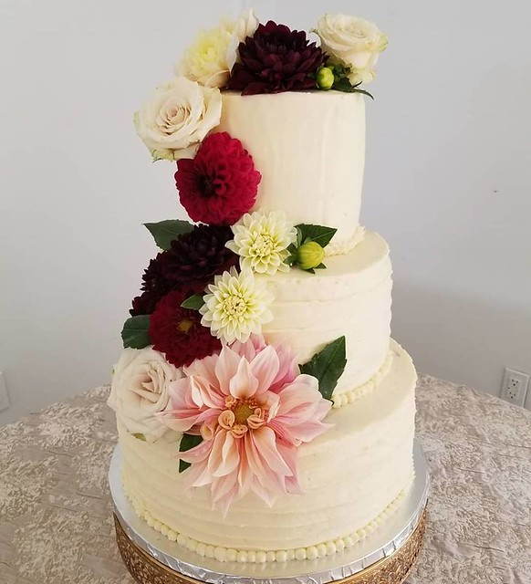 Wedding Cake with Fresh Flowers by Simply Sweet Bakery